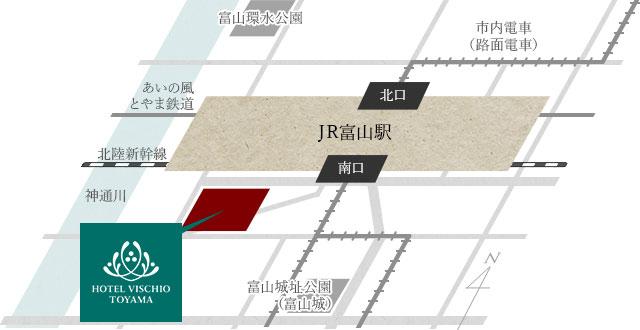 富山駅からのアクセスマップ